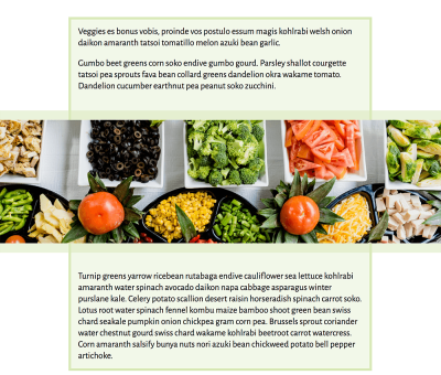 A single column layout, with a full width image