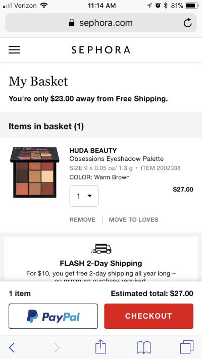 Sephora's PayPal trustmark