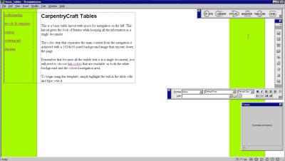 Table template in Dreamweaver 1.2 released 1998