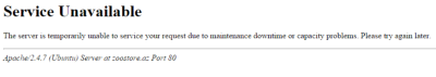 A generic error message for websites with server issues