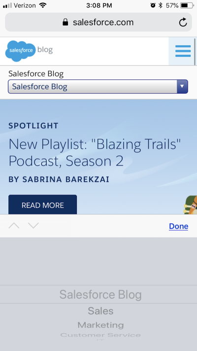 Salesforce has informative blog navigation