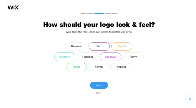Wix Logo Maker questionnaire - logo style