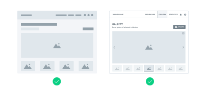 Example of both low and high-fidelity wireframes