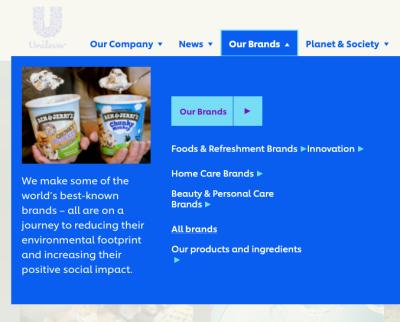 <a href='https://www.unilever.com'>Unilever.com</a> with  chevrons in the mega-dropdown.