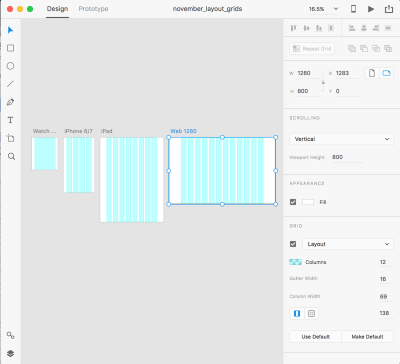 Layout grids in Adobe XD adapt across multiple screen sizes.