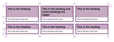 A grid of cards with the Firefox Grid Inspector showing they each sit over two rows of the grid