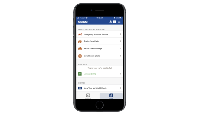 GEICO mobile app home page