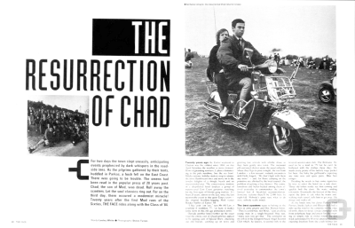 The Resurrection of Chad. The Face 1984. Art direction by Neville Brody. This design introduced a hand-drawn typeface which was frequently used in the magazine from then on.