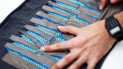 Man's hands stretching FabricKeyboard