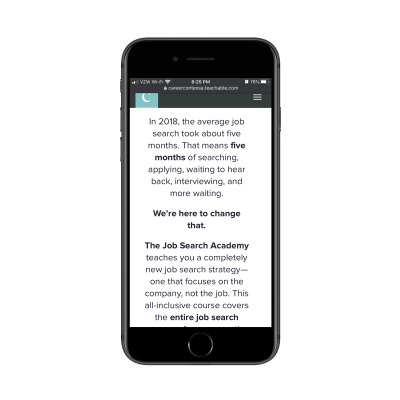The Career Contessa provides well-formatted course descriptions with short paragraphs on mobile as well as bolding