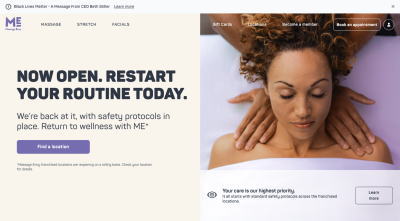 Massage Envy website with picture of woman getting massage