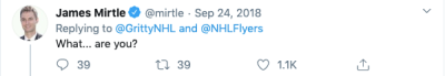 Twitter user confused about Gritty mascot