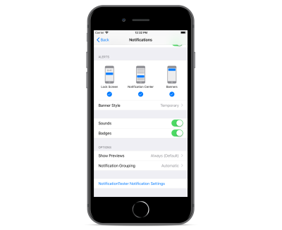 iPhone 8 Plus shown with system Settings app open with Notifications screen for NotificationTester app.