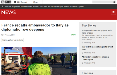 Screenshot of a BBC article, which displays fine but has a warning message at the top