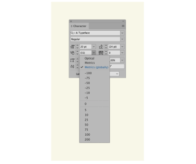 A software screengrab of Adobe InDesign's Character window, with a new option below 'optics' and 'metrics' window which says 'metrics (globally)'.