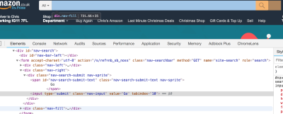 Screenshot of Chrome inspector against Amazon search area