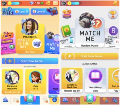 Scrabble GO home screen vs. the newly designed classic home screen
