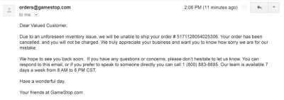 Cancellation notification email from GameStop