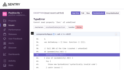 A screenshot taken from Sentry's online sandbox of a TypeError. An error message reads: Cannot read property func of undefined. Below the error is a stack trace of where the exception was thrown