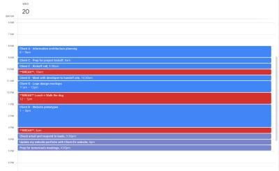 Google Calendar time-blocking example