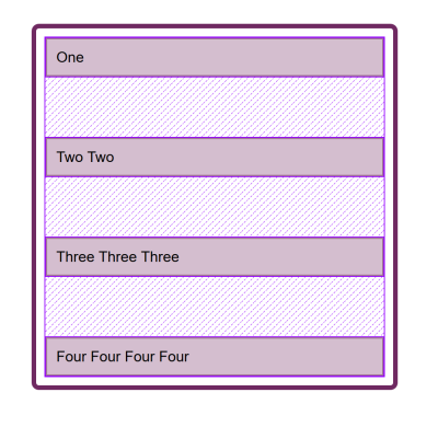 A column of flex items with space between them.