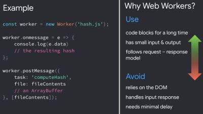 Code in DOM shown on the left as an example of what to use and avoid when using web workers