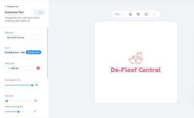Wix Logo Maker - customizing a logo
