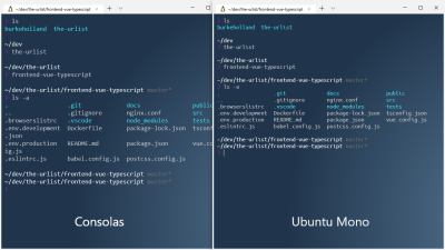 A side-by-side comparison of Consolas and Unbuntu Mono fonts in the terminal