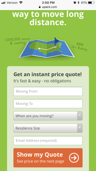 UPack shows a price quote form first thing