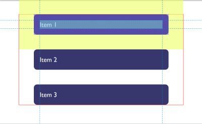 The item with a yellow highlighted margin showing outside the parent