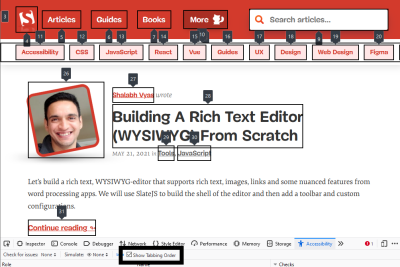 Firefox feature to label all focusable elements enabled on the Smashing Magazine page