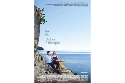 The Before Midnight movie poster features a sunny Greek island in the background