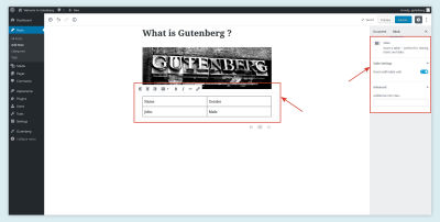 Table Block in Gutenberg