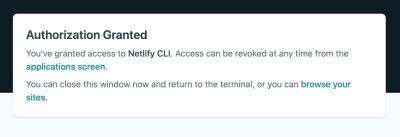 Screenshot showing authorization granted dialog