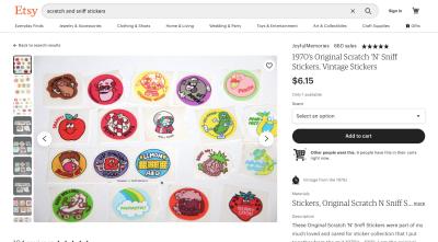 Etsy - 1970s Original Scratch 'N' Sniff Stickers