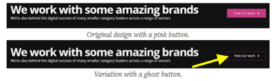 Fresh Egg A/B tests ghost buttons on its website.