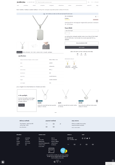 A version of the product detail page with everything: choose a size, add engravings to it, maybe change the color.