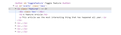 DevTools with the list item of the featured item expanded to see the elements inside