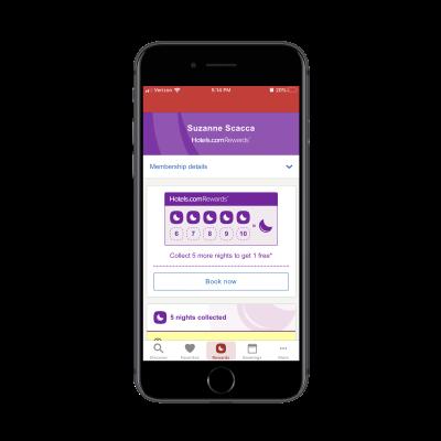 Hotels.com Rewards tab