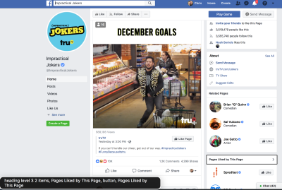 """The """"Pages Liked by This Page"""" heading (at the bottom right of the page) is in focus, and is a """"heading level 3""""."""