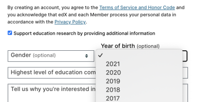 Screens of edX's signup