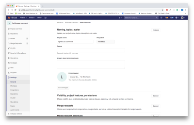 Screenshot shows settings page, where you can find Project ID