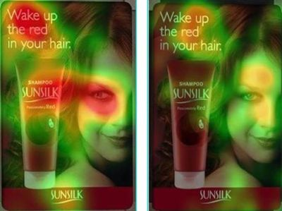An advertisement for Sunsilk Shampoo in which the lady in the picture is looking at the product compared to a picture of her looking straight