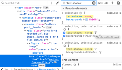 Filtering styles by a property in Firefox.