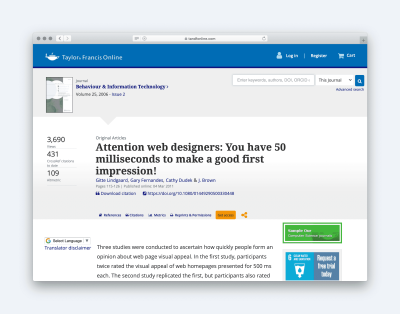 Article Titled: Attention Web Designers, you have 50 milliseconds to make a good first impression