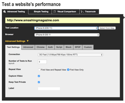 WebPageTest advanced settings form