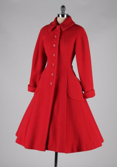 vintage 1950's coat inspiration for Little Red Riding Hood to wear in the illustration