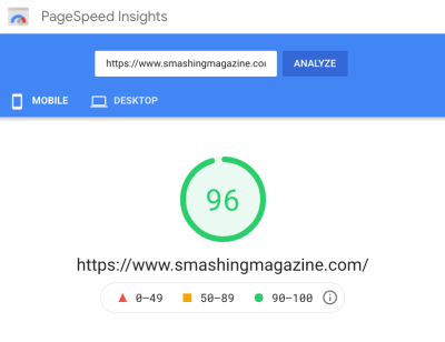 A screenshot of a PageSpeed Insights result showing a green score on mobile (for the homepage and for the article pages)