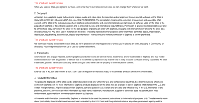 """Sephora Terms of Use page includes """"The short and sweet version"""" in red to summarize its complex legalese"""