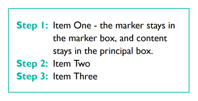An ordered list with Step 1, Step 2, and so on, before each list item